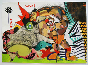 "Игорь Шуклин, World wrestling entertainment, из серии ""Спорт"", 2013, акрил, бумага, 70x50 см"